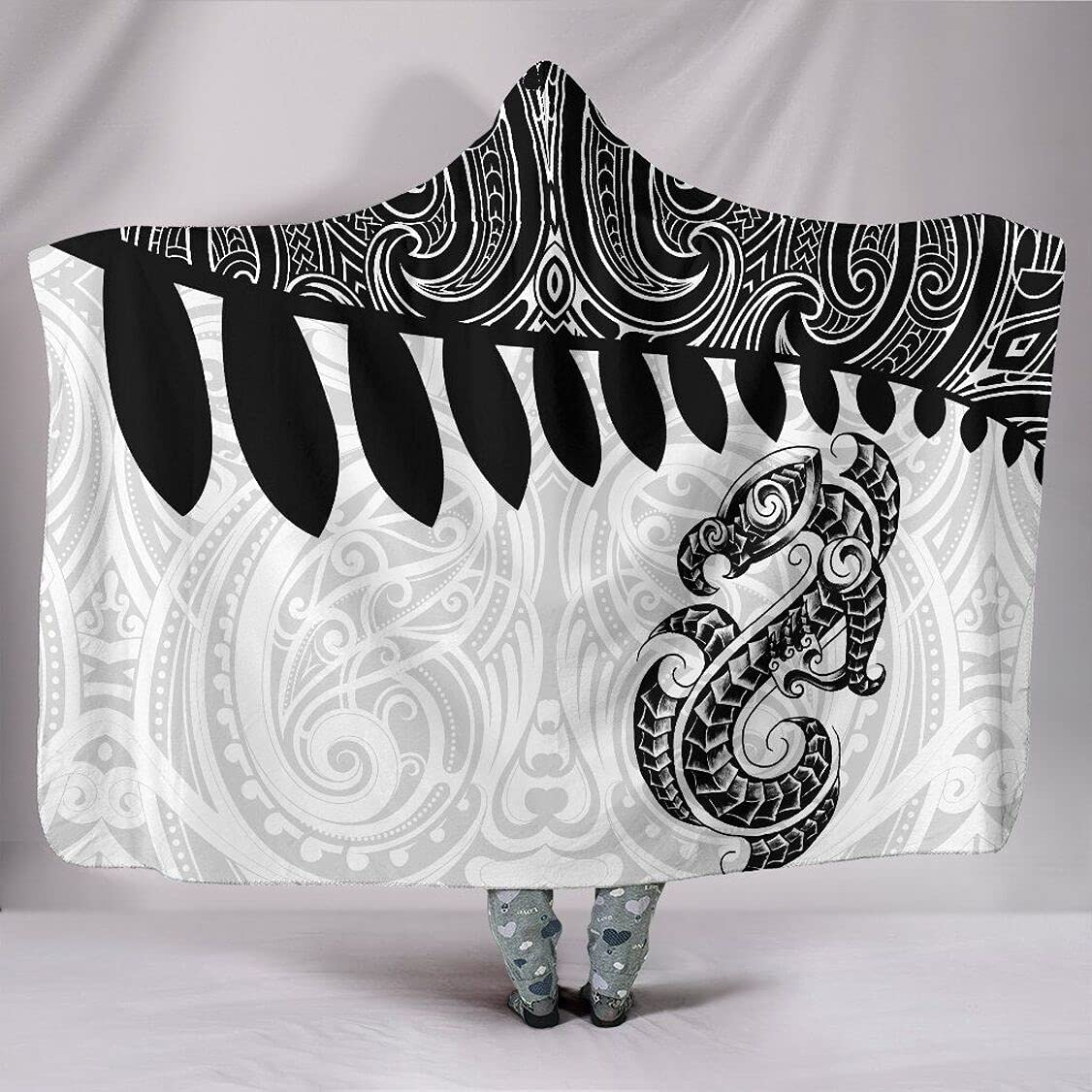 Personalized Aotearoa Genuine Free Shipping Hooded Blanket Manaia Some reservation Bl Fern White Silver