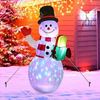 Christmas Decorations Outdoor Inflatables Snowman with Colourful LED Lights Xmas Gifts Christmas Inflatable Doll for Garde...