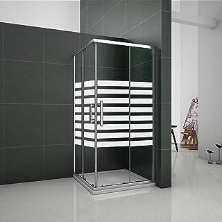 Mampara de ducha Angular 5mm Serigrafiado - 2 Fijas + 2 Correderas,Puertas Correderas 80x80x195cm: Amazon.es: Bricolaje y herramientas