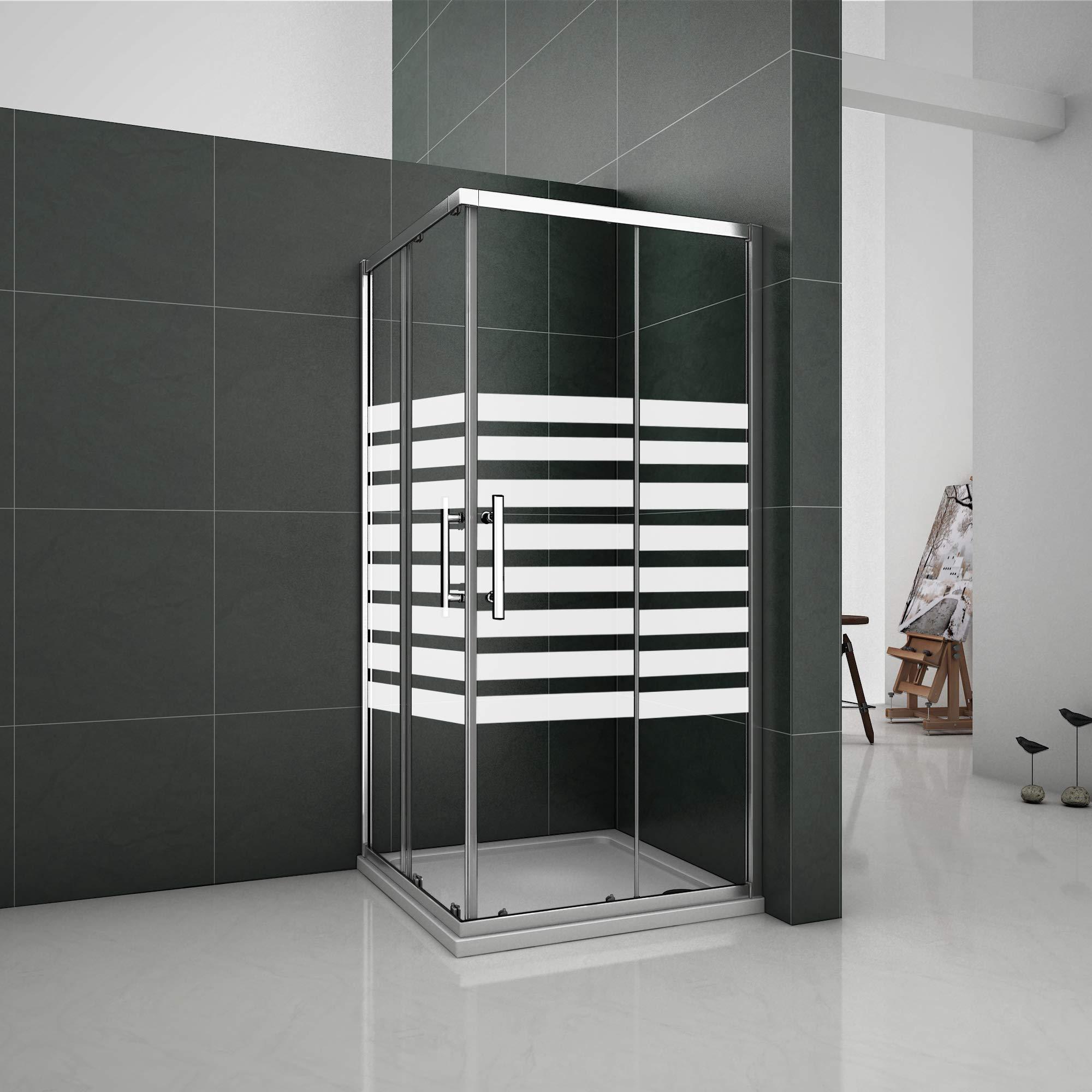 Puertas Correderas 80x80x195cm Mampara de ducha Angular 6mm Serigrafiado - 2 Fijas + 2 Correderas: Amazon.es: Bricolaje y herramientas