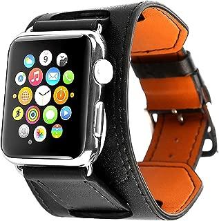 APPLE Watch 38mm Pulsera Series 3/2/1, Cuff Pulsera de piel Wrist Reloj de pulsera reloj de pulsera banda para Negro Marrón