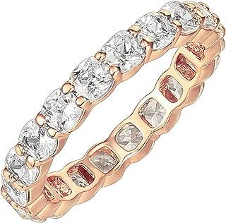 PAVOI 14K خاتم مطلي بالذهب مكعب زركونيا الحب | 3mm وسادة قطع خواتم قابلة للتكديس للنساء | خواتم الذهب للنساء