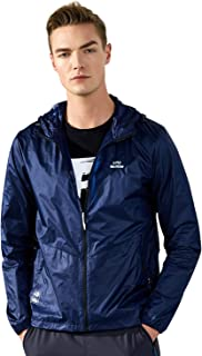 Men's Lightweight Hooded Jackets Sun Protection+Quick Dry Windproof Packable Teenager Skin Coat