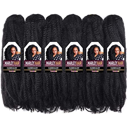 """Toyotress Marley Hair For Twists 18 Inch 6packs Long Afro Marley Braid Hair Synthetic Fiber Marley Braiding Hair Extensions (18"""", 1B)"""