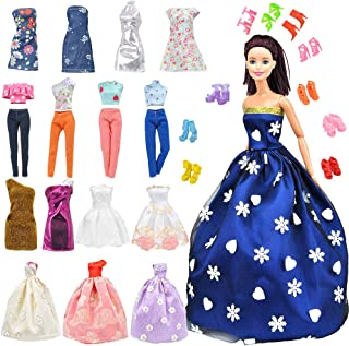 E-TING Lot 15 Items = 5 Sets Fashion Handmade Clothes Dress + 10 Pair Shoes for Girl Doll Xmas...
