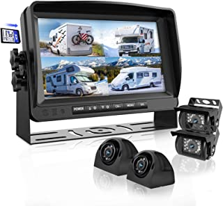 Backup Camera System with 9'' Large Monitor and DVR for RV semi Box Truck Trailer Rear and Side View Quad HD Camera 4 Spli...