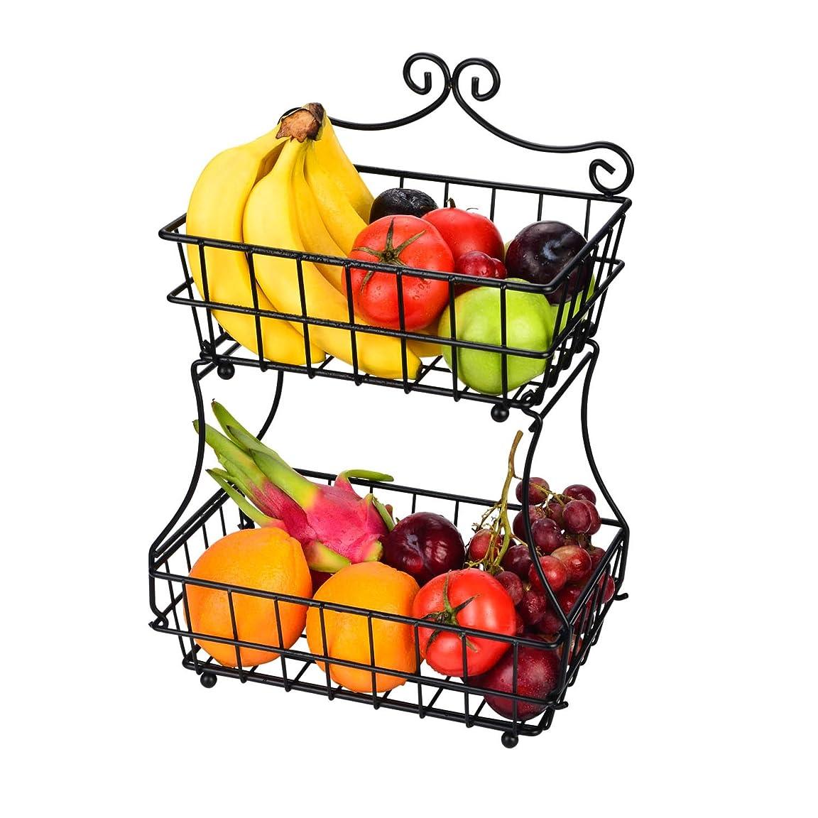 フルーツバスケット 2段 LINKFU ブレッドバスケット アイアン製 簡潔デザイン フルーツかご盛り 家庭用ラック フルーツ スタンド ストレージ用 壁掛け可能 果物かごもり お菓子?果物?小物収納かご キチン雑貨入り 北欧風 分解可能
