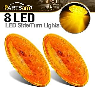Partsam 2X Led Lighting Oval Amber Side Turn/Side Marker Lights 8LED Stud Mount Sealed Replacement for Peterbilt Cab Side Marker and Turn Signal Lights