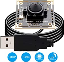 Camera USB 1080P Webcam Mini Wide Angle Camera Sony IMX322 Sensor Webcamera 2 MP Industrial USB Camera Module Full HD H.264 Video Camera 0.01lux Low Light Camera Spy Camera for Robot Machine Vision
