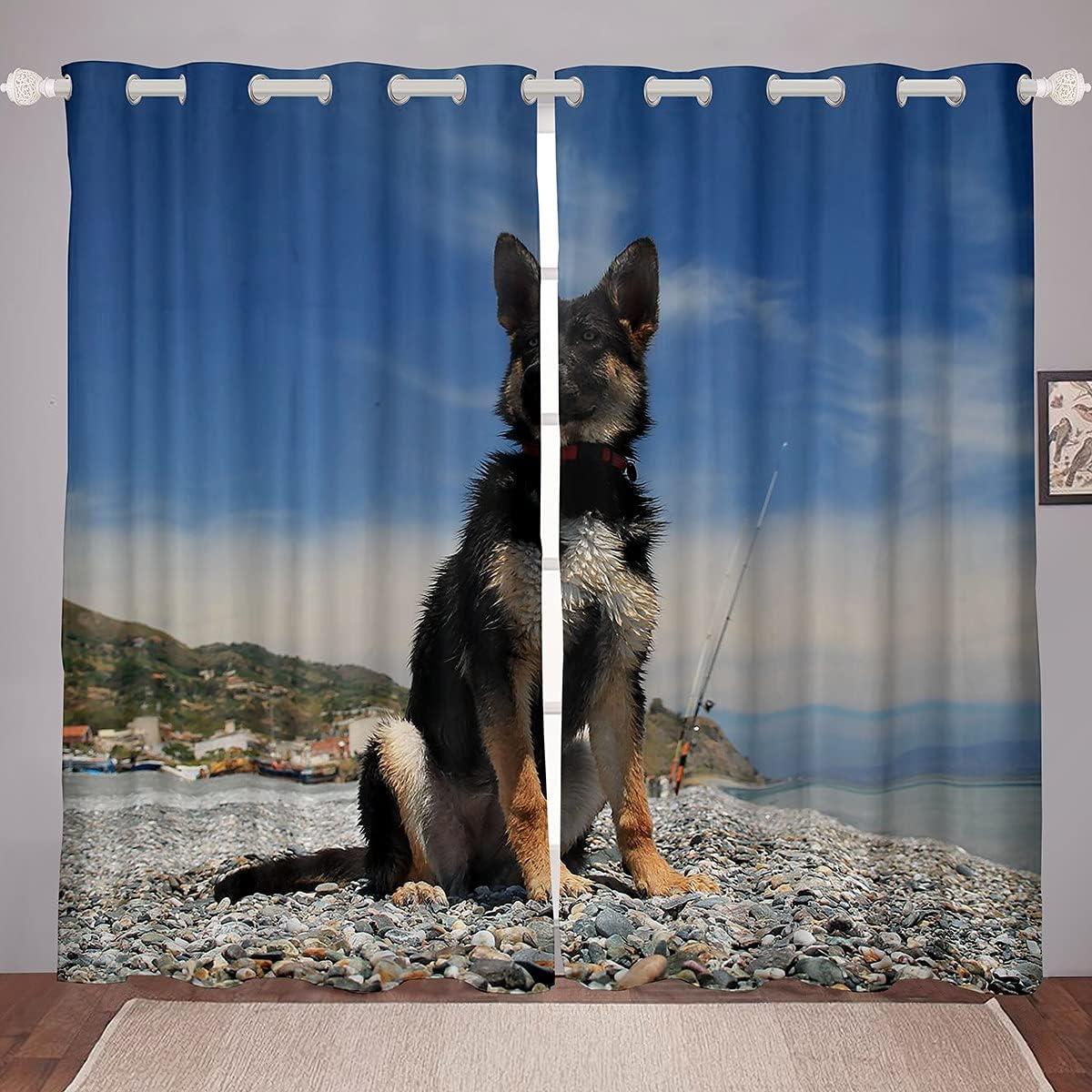 Erosebridal German Shepherd Window Popular product Curtains Kids Boys New product type Teens for