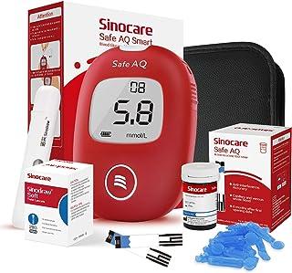 sinocare Kit de prueba de diabetes/Monitor de glucosa en sangre Safe AQ con tiras sin código x 25 y lancetas sin dolor x 25 y estuche en mmol/L