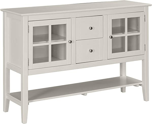 Ravenna Home Sara Rustic Storage TV Media Entertainment Stand 53 W White