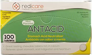 Mint Flavored Antacid Travel Packets with Dispenser Box - Great for First Aid Kit and workplaces - 50 Packets of 2