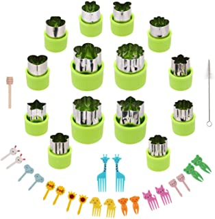 Kasmoire Vegetable Cutter Shapes Set,Green Mini Pie Cookie Cutters Set Fruit Pastry Stamps Mold,for Decorative Kids Baking...