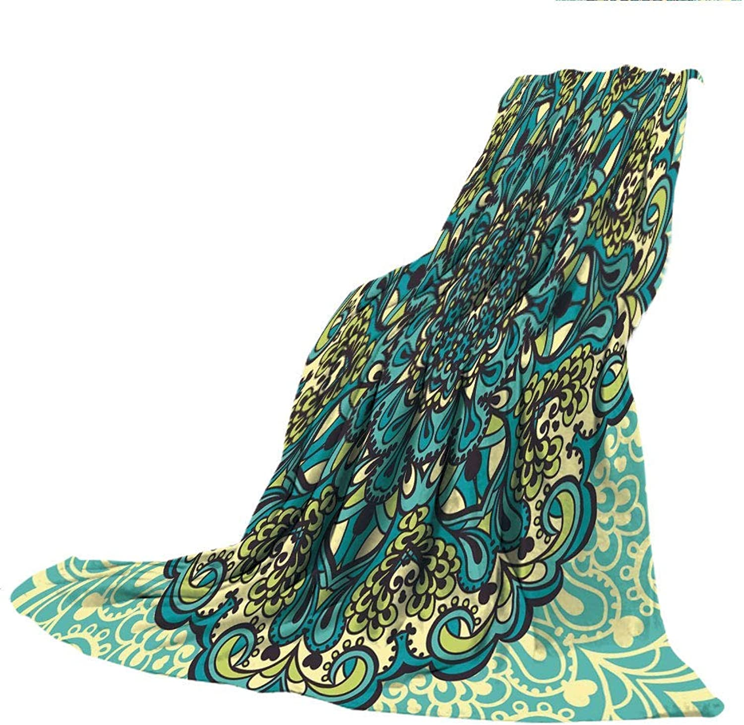 VANKINE Super Thick Flannel Double-Sided Printing Blanket,Ethnic,Abstract Ombre Vivid Rainbow colord Lace Mandala Tie Dye Flower Kids Hippie Decor Decorative,Multicolor,31.50  W x 47.25  H