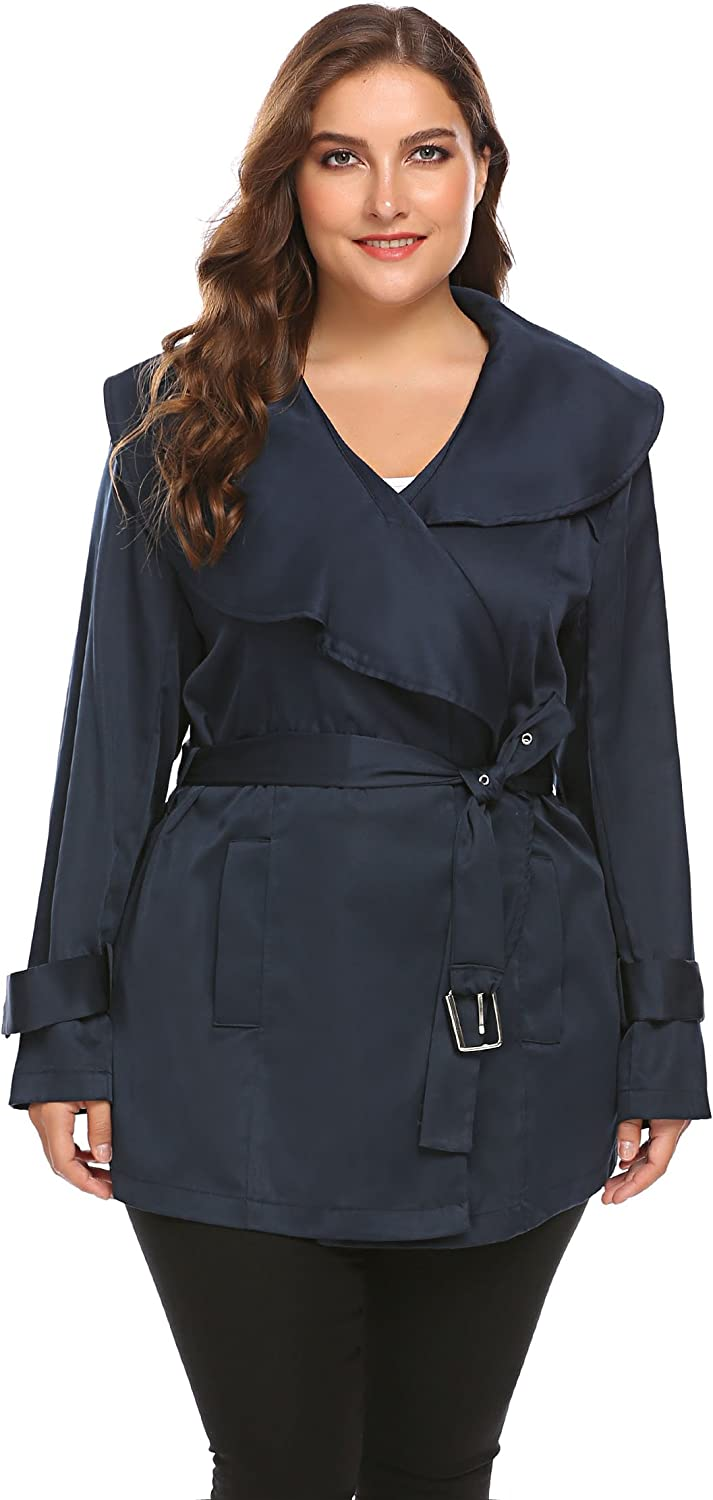 Zeagoo Women's Plus Size Lapel Short Trench Coat with Striped Belt