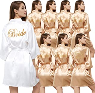 Set of 8 Women's Satin Kimono Robes for Bride Bridesmaid with Gold Glitter Wedding Party Maid of Honor Robes