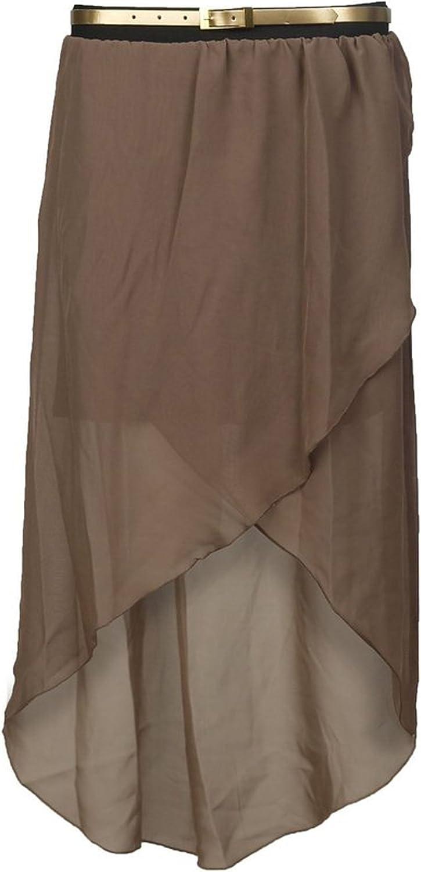 Girls Walk Womens Chiffon Asymmetric Wrap Over Belted Skirt