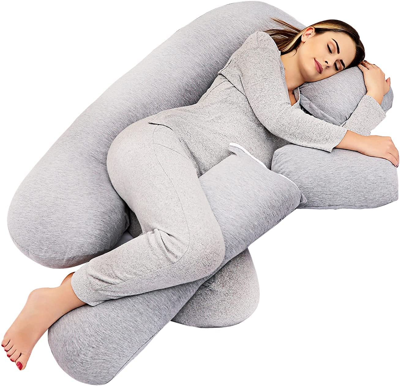 TELER Pregnancy Pillows,Pregnancy Pillow U-Shaped Full Body ,Pregnancy Gifts Maternity Pillow Support Detachable Extension 2-in-1 55 inch Pregnancy Body Pillow