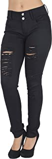 Plus Size Fashion Colored Jeans, Destroyed Ripped Sexy Skinny Jeans