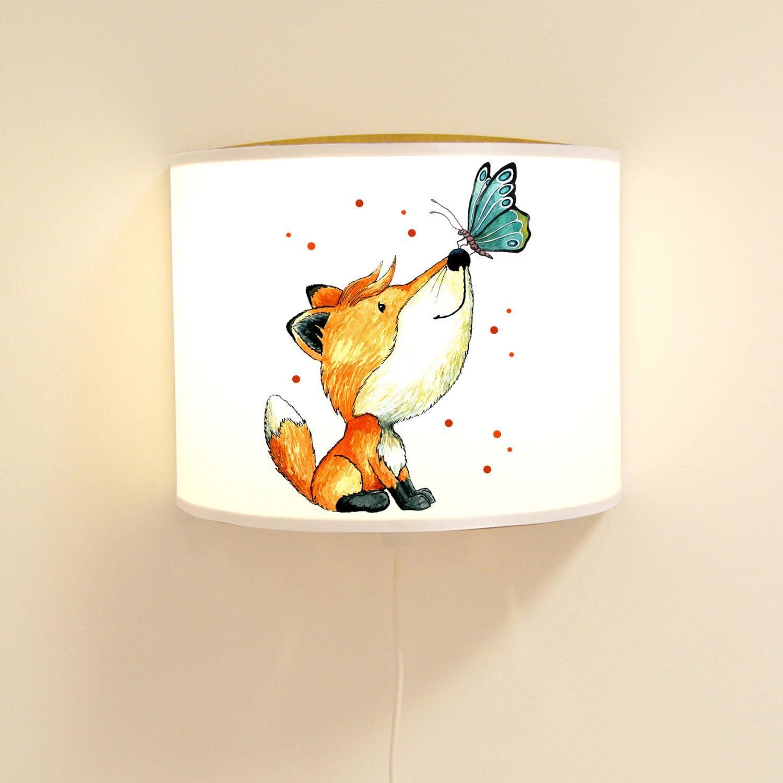 Ilka parey wandtattoo-welt Wandlampe Kinderlampe Lese Schlummerlampe Schlummerleuchte Kindergarten Lampe mit Fuchs & Schmetterling ls81