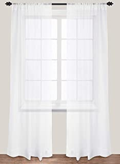 Premium White Sheer Curtains - Sheer Voile - White Luxurious - High Thread Window Curtains - 2 Panel Set - 54 by 84 Inches - by Utopia Bedding