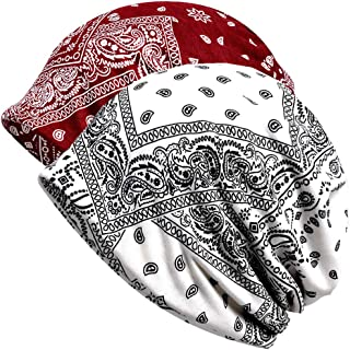 Paladoo Print Flower Slouchy Beanie Chemo Hat Cap Infinity Scarf for Women