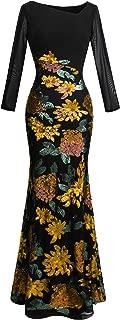 Women's Long Sleeve Rose Pattern Sequin Black Formal Dress