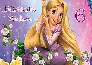 OBLEA de Rapunzel Personalizada con Nombre y Edad para Pastel o Tarta, Especial para cumpleaños, Medida Rectangular de 28x20cm