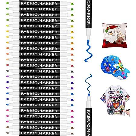 Gifort Rotuladores para Tela Permanentes, 24 Colores Marcadores Textiles Sin Sangrado y No Tóxico para Niños Adultos Regalos Artesanales, Camisetas, Jeans, Zapatos, Bolsos