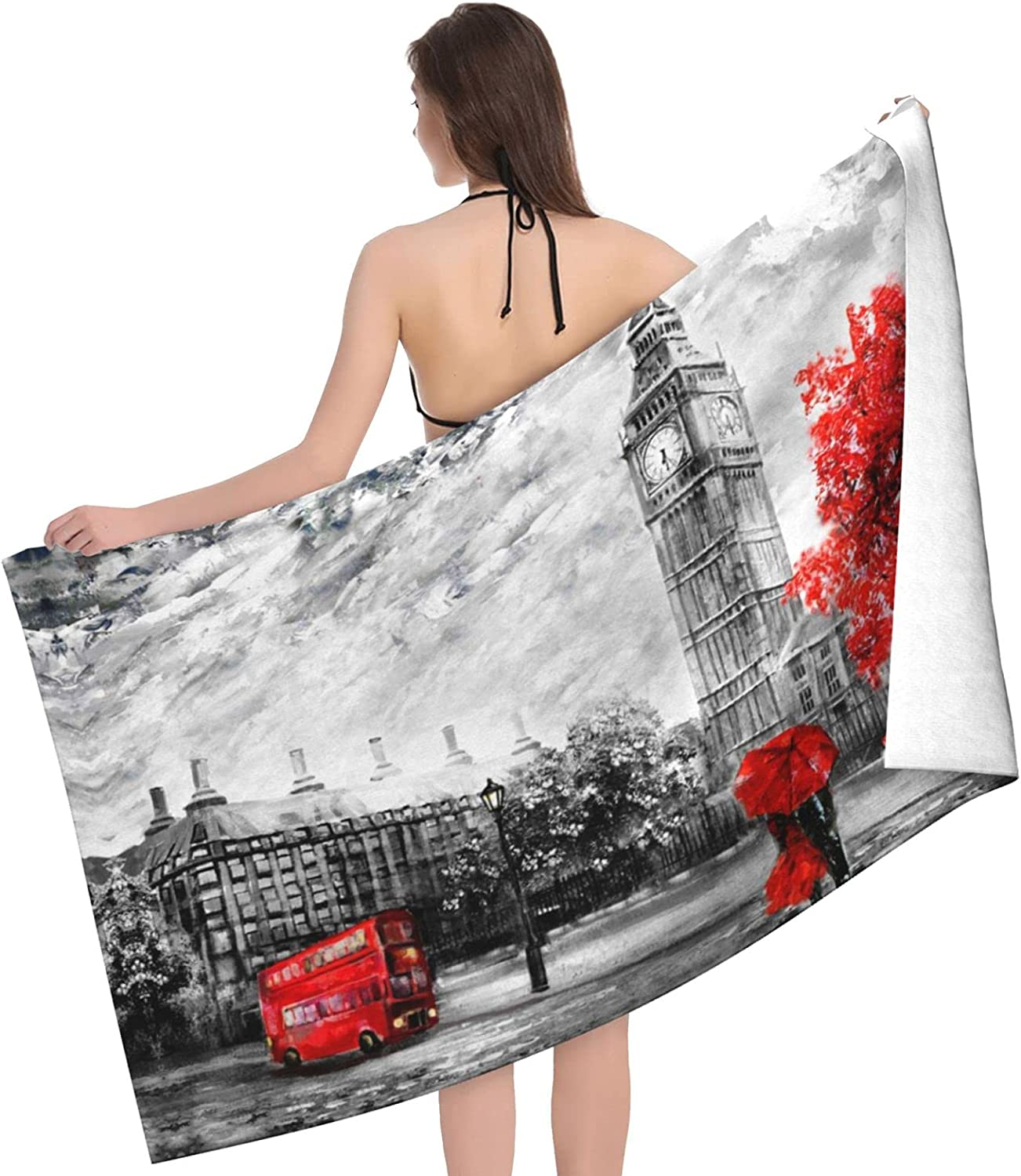 Red Popular products London Street Print Adult Towel Towels Max 60% OFF Double Beach -