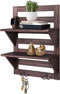 Rustic Wall Mounted Shelves – Kitchen or Bathroom Farmhouse Rustic Décor – Vintage Wall Shelves with Two Double Iron Hooks & 2-Tier Storage Rack – Decorative Wall Shelf Organizer- Torched Brown
