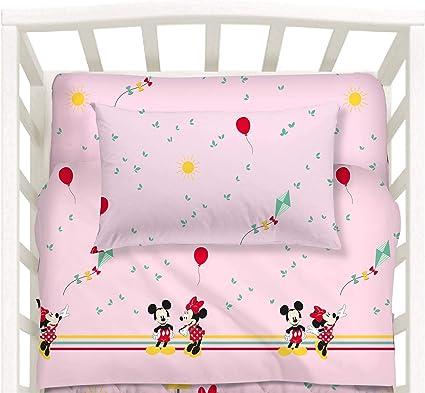 C A L E F F I Disney Baby By Caleffi Completo Lenzuola Per Culla Lettino Mickey Minnie Con Sbarre Rosa Amazon It Prima Infanzia