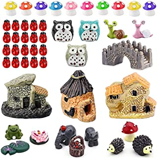 Fairy Garden Ornaments Kit, Miniature Fairy Garden Accessories Set, Miniature Garden Houses, Miniature Figurines. Micro La...