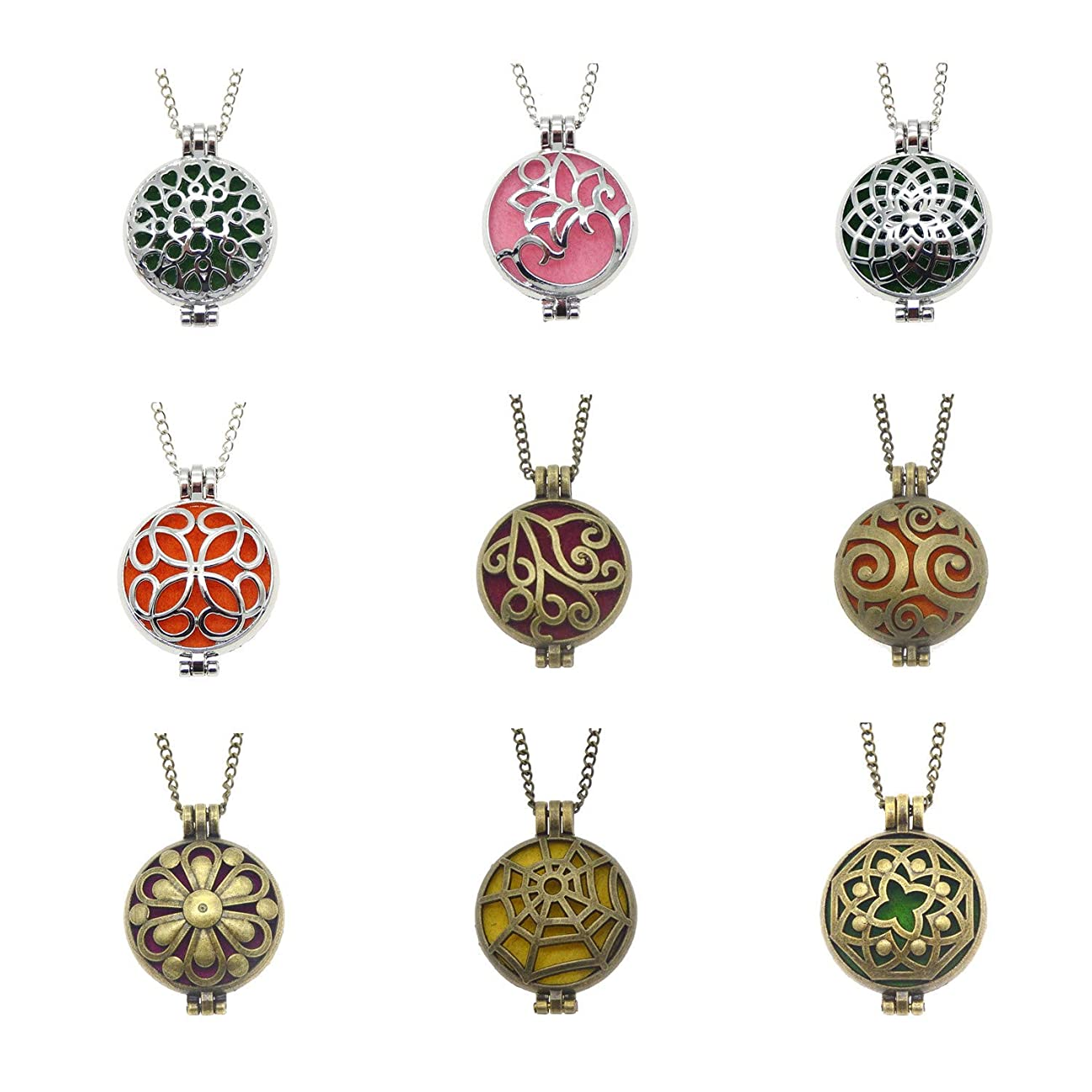 Julie Wang Bulk Sale 9pcs Aromatherapy Enssential Oil Diffuser Necklace Round Locket Pendants Gift