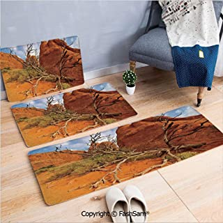 3 Piece Fashion Flannel Door Mat Carpet Rock on Grand Canyon Monument Valley Heart of Nature Utah Photo for Door Rugs Living Room(W15.7xL23.6 by W19.6xL31.5 by W31.4xL47.2)