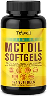 Premium Organic MCT Coconut Oil Capsules- Powerful C10 & C8 MCT Oil Capsules, Keto Diet Pills Derived from Non-GMO Coconuts- 1000mg Keto MCT Oil, 324 Softgels