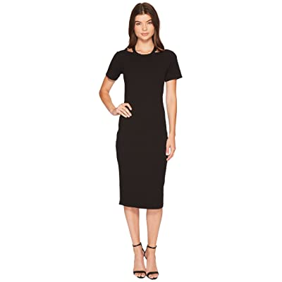 Nicole Miller Riley Short Sleeve Ribbed Cut Out Dress (Black) Women