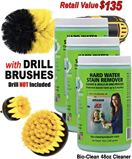 Bio Clean:Hard Water Stain Remover Buy 2 Cleaners(48OzMax-strength) 3rd Bottle FREE! PLUS 2 Free Magic Cloths.Cleaner Removes Tough Hard Water Stains Caused by mineral deposits acid rain limescale