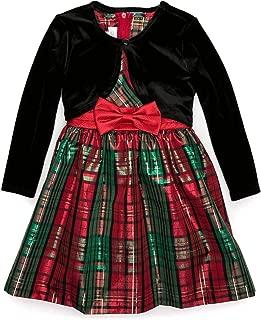 Toddler Girl's Holiday Christmas Dress - Plaid with Black Velvet Cardigan