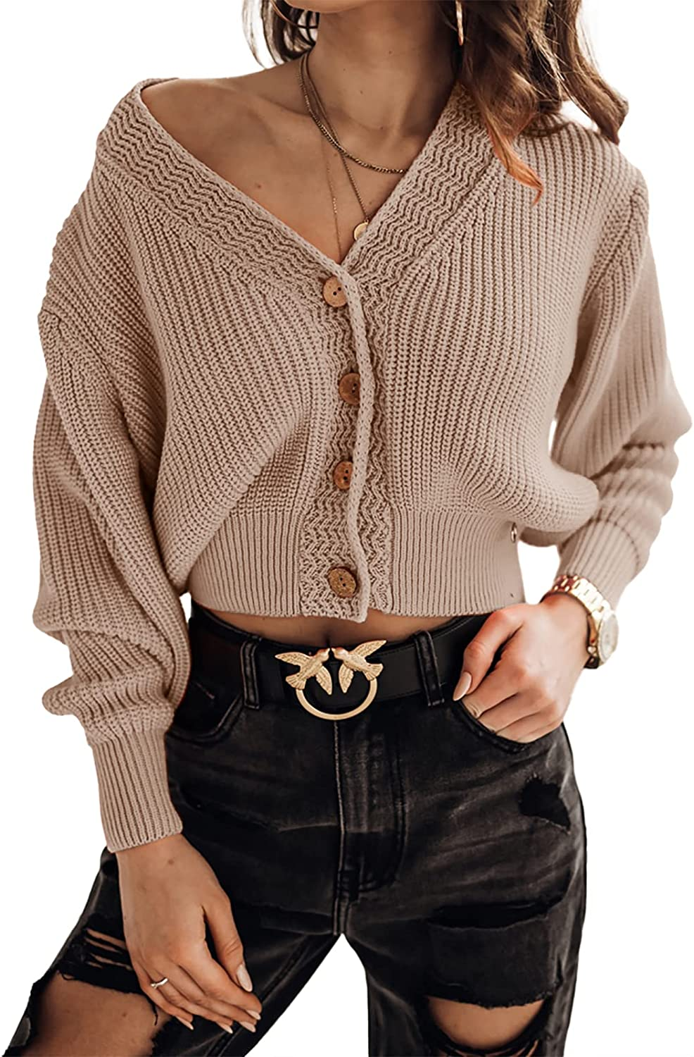 Women's Long Sleeve V-Neck Button Down Cropped Cardigans Rib Knit Lightweight Fall Sweater Tops