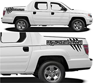 Evilrpm Vinyl Truck Bed Decal Sticker Kit-Distressed Custom Graphics Design Compatible with Honda Ridgeline 2005-2015 - Black (Black Gloss)