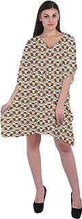 RADANYA Flowers Women's Casual Loose Short Kaftan Dress 3/4 Sleeve Cotton Caftan