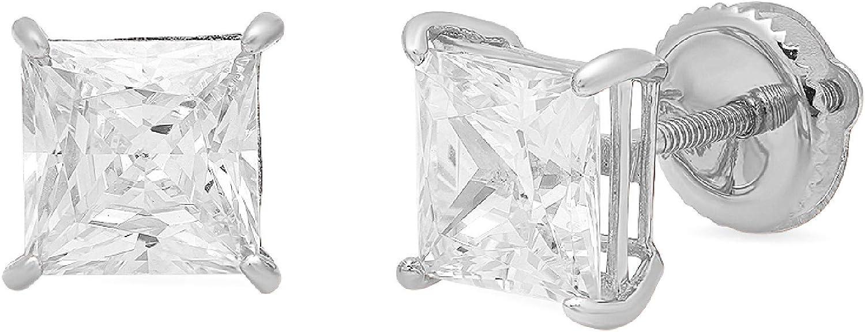 0.94cttw Princess Cut ideal VVS1 Conflict Free Gemstone Solitaire Genuine Moissanite Unisex Designer Stud Earrings Solid 14k White Gold Screw Back
