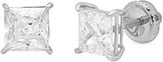 4.0 ct Brilliant Princess Cut Solitaire Highest Quality Moissanite Anniversary gift Stud Earrings Real Solid 14k White Gold Screw Back