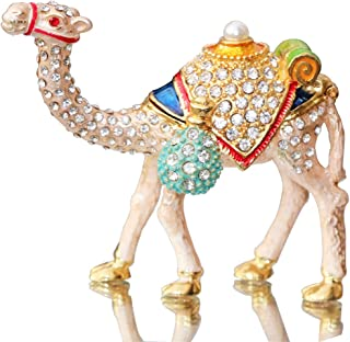 Waltz&F Camel Figurine Trinket Boxes Ornament Crystals,Hand-painted Patterns Jewelry Trinket Box Hinged Collectible Ring Display Holders for Women or Girl