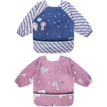 3er Pack Wasserdicht  Ärmellätzchen Kinderlätzchen Babylätzchen  6-36 Monate