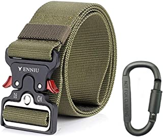 "Yeapv Nylon Tactical Web Belt, W/1.5""-2"" Military Army Style Combat Riggers Webbing Belt Adjustable Heavy Duty with Quick-Release Metal Buckle for Men Women"