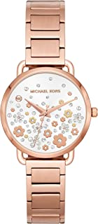 Women's Portia Analog-Quartz Watch with Stainless-Steel Strap, Rose Gold, 14 (Model: MK3841)
