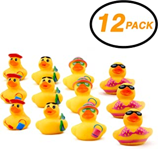 """Srenta 2"""" Assorted Styles Beach Rubber Duck, Vinyl Duckies, Fun Decorations for Great Party Flavors, Pack of 12"""